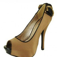 BROWN SATIN BOW PUMP @ KiwiLook fashion