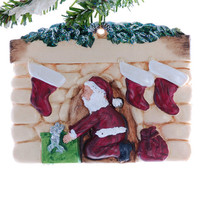 Santa fireplace Christmas ornament - family of three- ornament for three - family of three ornament -  personalized fireplace oranment