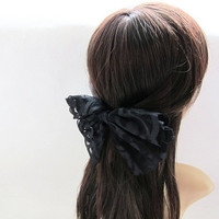 Extra Large Black Lace Butterfly Hair Bow Barrette - 7 inches/18cm - Ready to Ship Hair Accessories