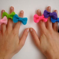 Mini Bow Ring // Felt Adjustable Cute Bow Ring // Original Design // Ready to ship
