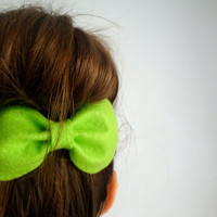 Big Bow // Lime Green Cute Felt Bow Hair Clip // Original Design // Ready to ship