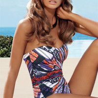 Jets Black 2011: Celebration One Piece Bathing Suit Bandeau One Piece J1466 | Swimwear Boutique