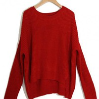 Red Irregular Wool Sweater $39.00