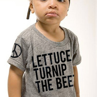 lettuce turnip the beet - eco-heather grey track shirt - baby and toddler sizes