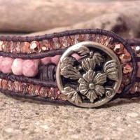 Rosy Pink Leather Cuff Bracelet, PZW080