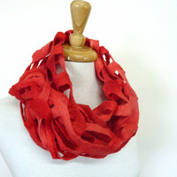 Cherry Red Wool Scarf. Merino Wool Felt Scarves