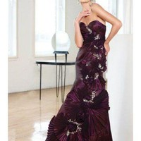 [$359.68] Sweetheart Neckline Purple Color Flower Evening Dress