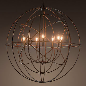 Foucault's Twin-Orb Iron Chandelier