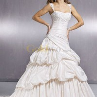 [US$287.99] Sweetheart Beaded Applique Taffeta Cap Sleeves Satin Wedding Dress