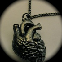 Anatomical Heart Necklace in Jet Black Gun Metal on by billyblue22