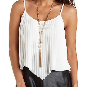 Pleated Chiffon Swing Tank Top by Charlotte Russe - Ivory