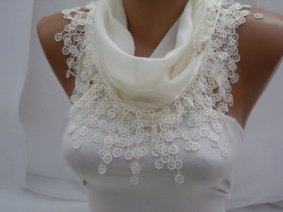 White Cotton Scarf- Shawl Headband -Cowl with Lace Edge