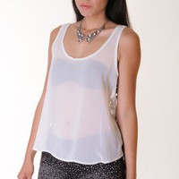 WHITE CROCHET ACCENT CHIFFON TANK @ KiwiLook fashion