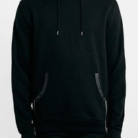 Men's Topman Black Pullover Hoodie with Faux Leather