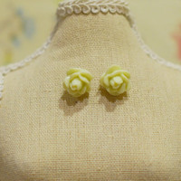 Simple Pale Mint Green Rose Earrings - Pale Green Rose Stud Earrings w/ Gold Posts