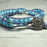 Soft Sky Blue Double Wrap Bracelet, Wrap Around, Leather Bead Bracelet, Womens Bracelet
