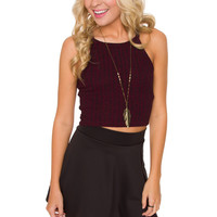 Leslie Crop Top - Burgundy