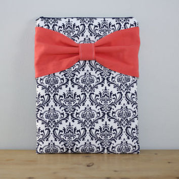 iPad Case - Android - Microsoft Surface Tablet Sleeve - Navy and White Damask Coral Bow - Padded - Sized to Fit Any Brand