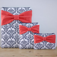 Coordinating Set of Cases - Matching MacBook, iPad or Pad Mini + Free Cosmetic Case - Navy and White Damask Coral Bow - Padded