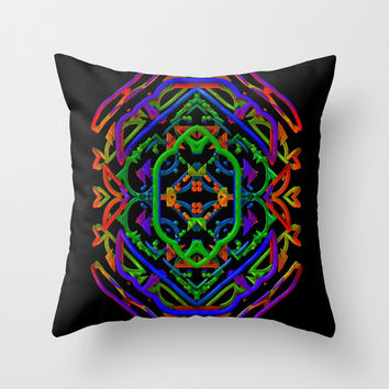 Neon Doodle Throw Pillow by Lyle Hatch