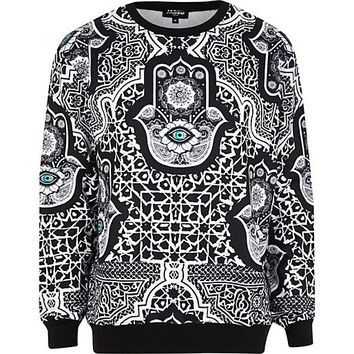River Island MensBlack Jaded hamsa printed sweatshirt