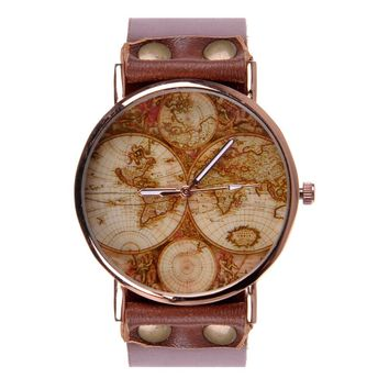 ZLYC Unisex Fashion Handmade World Map Classic Golden Edge Leather Strap Round Face Wrist Watch,…