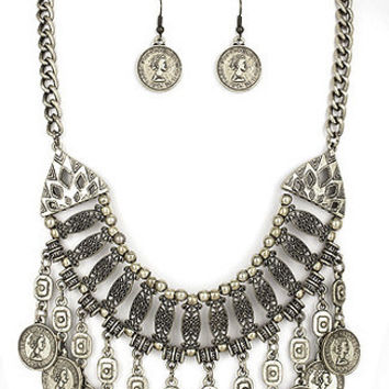 Medallion Coin Bib Necklace Set - Antique Silver / O/S / 22571