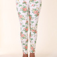 WHITE FLORAL SKINNY JEANS @ KiwiLook fashion