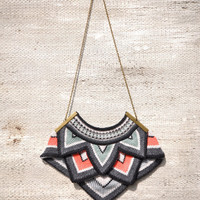 Large Point Knitted Necklace - Striped