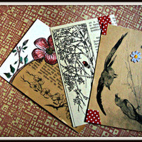 Set of three shabby chic postcards