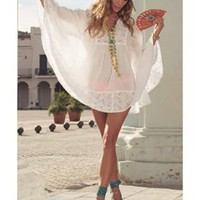 Ondade Mar White Eyelet Cover Up with Butterfly Sleeves