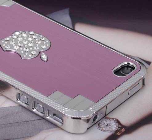New Bling Sparkle Crystal Elegant Pink Metallic iPhone 4/4S Case