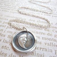 Moon pendant wax seal necklace made from recycled fine silver