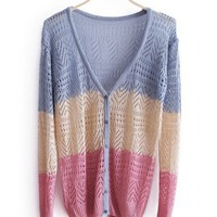 Autumn Women New Style Sweet V Neck Cute Fashion Long Sleeve Loose Blue Knitting Sweater One Size@WXM961bl $12.99 only in eFexcity.com.