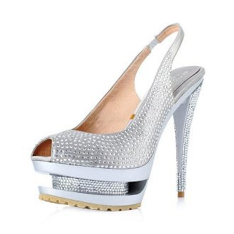 Rhinestone Fishes Mouth Sandals Silvery