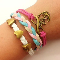 infinity  karma bracelet  bronze anchor bracelet with love heart pendant  bead women leather bracelet  1277A
