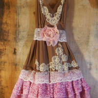Pink lace dress brown cream ruffle cupcake tulle tutu fairytale rose  vintage   romantic medium   by vintage opulence on Etsy