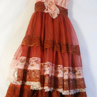 Rust silk dress  lace tiered cotton pink  ruffles  bohemian rose small  by vintage opulence on Etsy