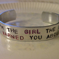 Stamped Bracelet Gamer Girl Chick Goddess Princess Custom Silver Metal Cuff