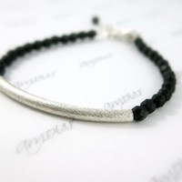 Beaded Bar Bracelet - Black thin Bracelet