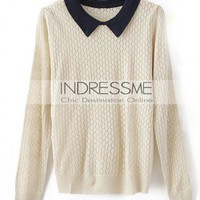 Other White Long Sleeve Doll Collar Thin Hollow Sweater  style 819my009