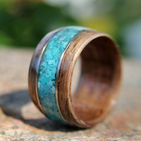 Bentwood Ring Walnut with Turquoise Inlay and German Silver accents