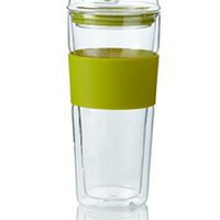 Takeya Double-Wall Glass Tea/Coffee Tumbler, Green, 16-Ounce