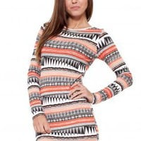 Multi Print Bodycon Long Sleeve Dress