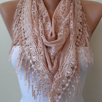 Light Salmon Laced Scarf with Salmon Trim Edge - Triangular - Special Lace Fabric