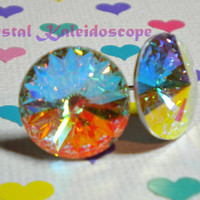 Iridescent Aurora Borealis Rivolis - BIG Crystal AB Post Earrings handmade with Swarovski Elements, 14mm Studs