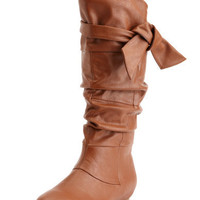 Charlotte Russe - Bow-Wrapped Flat Boot