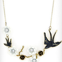 Birds & Branches Necklace in White