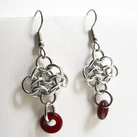 Chainmaille earrings, Rosettes, Red and silver, Aluminum, Lightweight, Red glass rings