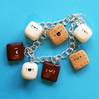 Happy S'Mores Kawaii Charm Bracelet Jewelry  by TheHappyAcorn